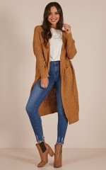 Where We Land knit cardigan in camel