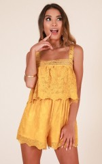 Smooth Moves playsuit in mustard lace