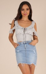 Any Moment crop top in grey stripe