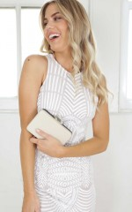 Runway show clutch in black and white