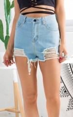 Above The Fray shorts in light wash denim