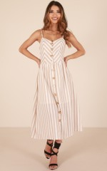 Sunrise Lover dress in beige stripe linen look
