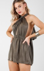 Showgirl playsuit in khaki sateen