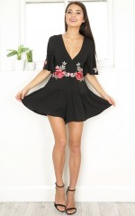 Time To Dance playsuit in black floral