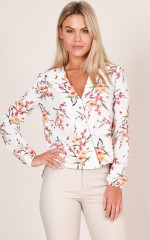 Time To Wine Down top in  white floral