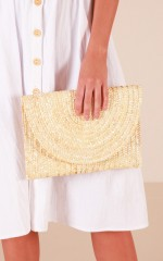 Caught In The Middle clutch bag in natural