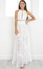 The Wanderer maxi dress in white lace