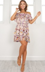 Any Day Now Dress in beige print