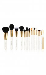 Makeup Brush set in white and gold - 15 pc
