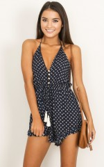 Its My Time playsuit in navy print