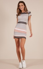 Turn The Page dress in grey stripe