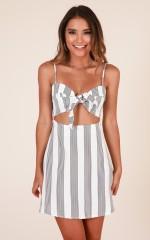 Fantasy World dress in white stripe linen look