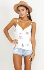Walk this Way top in ivory floral