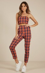 Lucky Girl two piece set in orange plaid