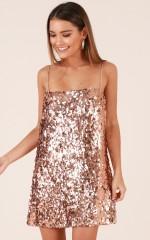 Virgo Rising Dress in Rose Gold Sequin