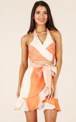 Waikiki dress in orange print linen look