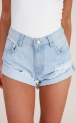 Want Your Love denim shorts in light wash
