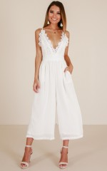 We Could Be Friends jumpsuit in white