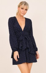 What Is Love dress in navy polka dot