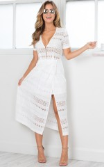 Worthwhile midi dress in white