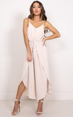 Wrapped Around Me jumpsuit in beige