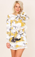 Writing On The Wall top in mustard floral