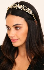 You Want It headband in black and gold