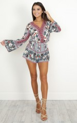 Is It Real playsuit in beige print