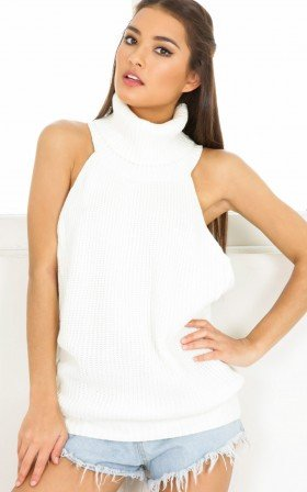 Baby Got Back knit top in white