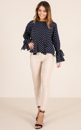 Dotted Up top in navy print