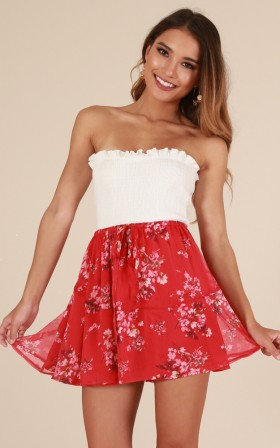 Dream Keeper skirt in red floral