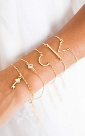How Things Are 5pc bracelet set in gold