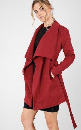 In An Instant coat in cherry