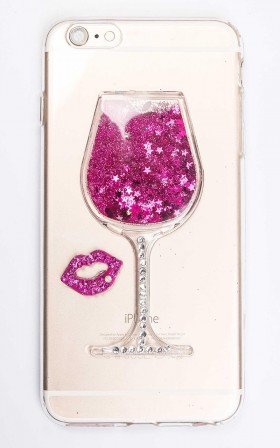 Friday Night Wine iphone cover in pink glitter - 6 plus