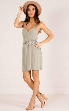 Just Right dress in khaki
