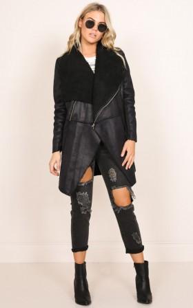 Lost Rider Shearling Coat in Black
