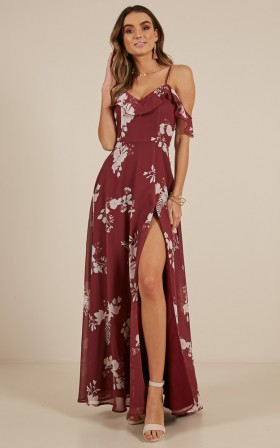 Sway Away maxi dress in Wine Floral