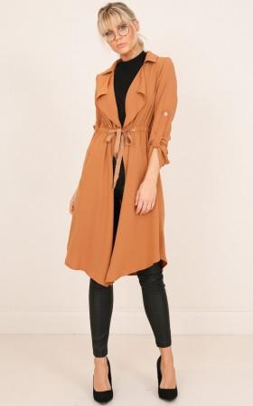 Take it Down trench coat in tan