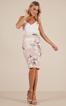 Claim It Back Skirt in Blush Floral