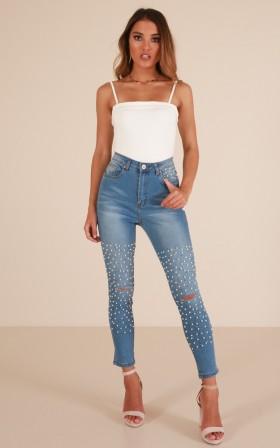 Kyla Embellished skinny jeans in light wash