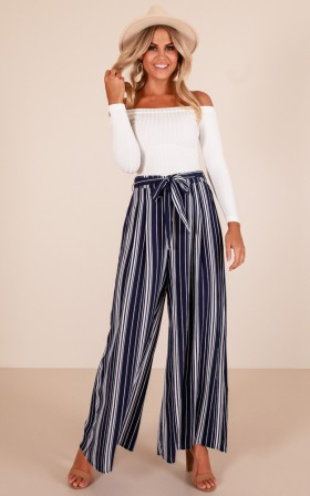 Too Much Future pants in navy stripe