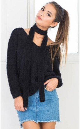 Ruffle Your Feathers sweater in black