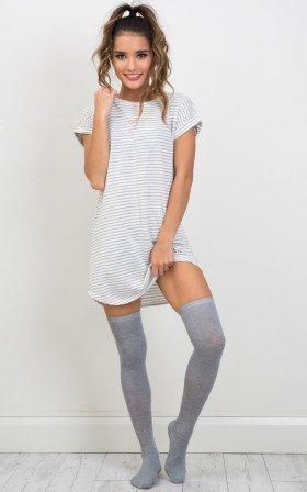 Schools Out knee high socks in grey marle