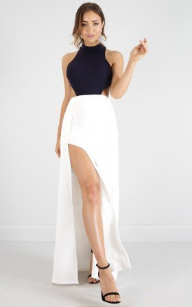 Back Out maxi dress in white and navy