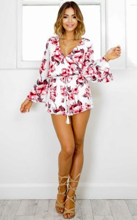 Take A Chance Playsuit in red floral