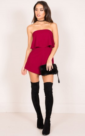 Cool Breeze playsuit in wine