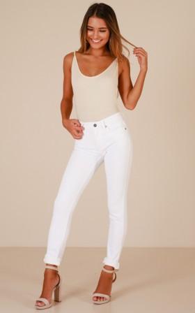 Dominique skinny jeans in white denim