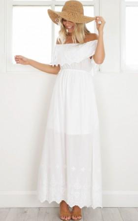 Catch A Wave Maxi Dress in white