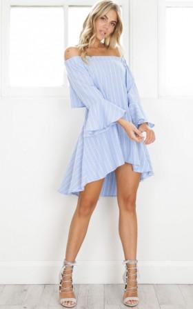 Her Presence Dress in bluestripe