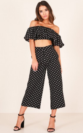 Turning Back Time two piece set in black print